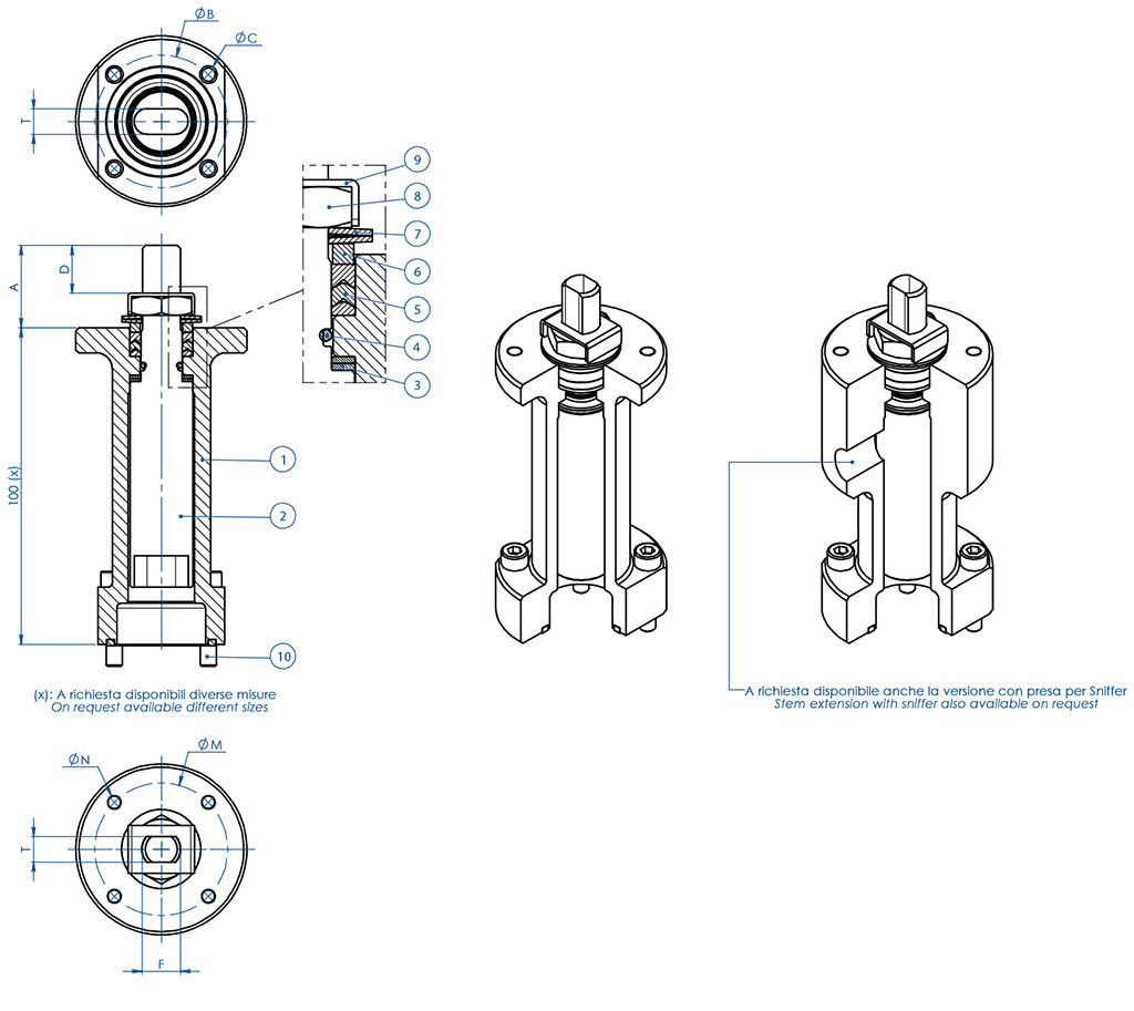 Thor Split Body PN 63-100 ANSI 600 stainless steel ball valve - accessories - STEM EXTENSION WITH ADDITIONAL SEAL