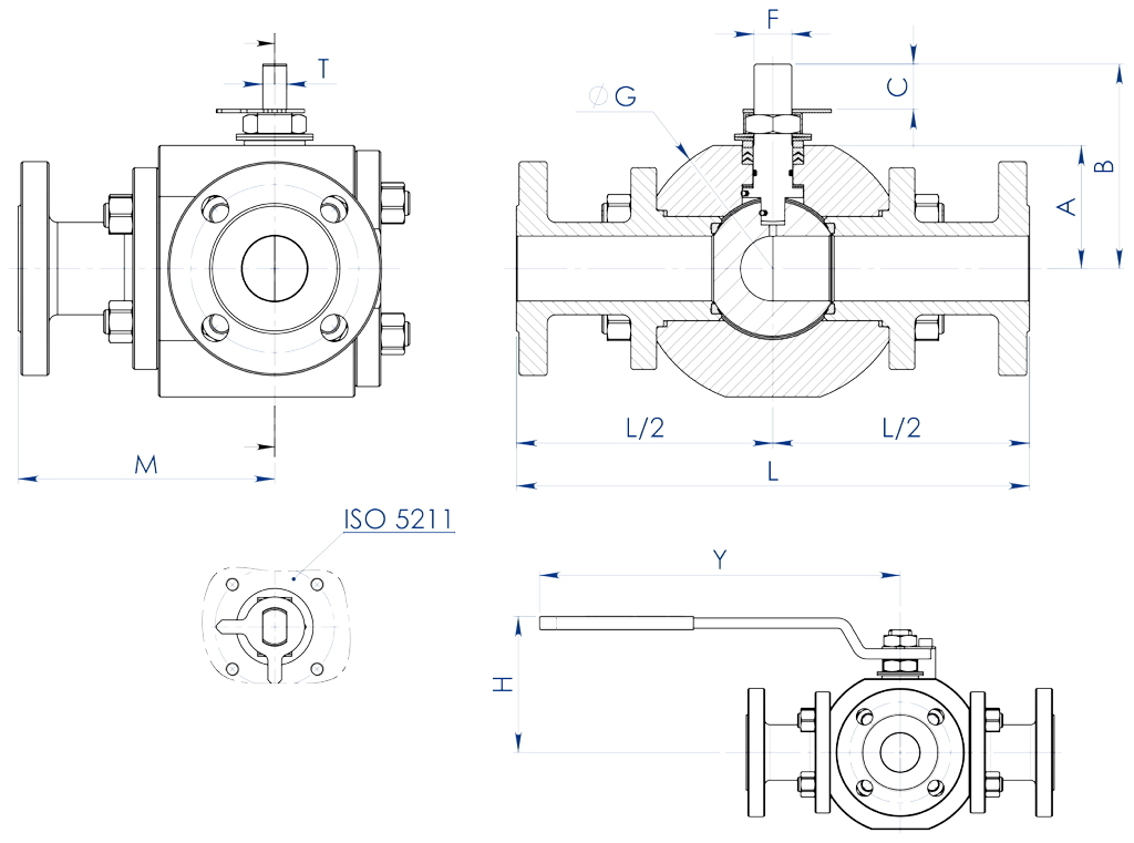 Thor Split Body 3 ways 4 seals PN 16-40 ANSI 150 carbon steel ball valve - dimensions -