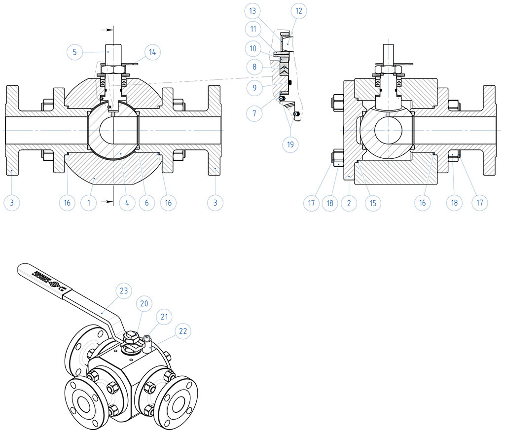 Thor Split Body 3 ways 4 seals PN 16-40 ANSI 150 carbon steel ball valve - materials -