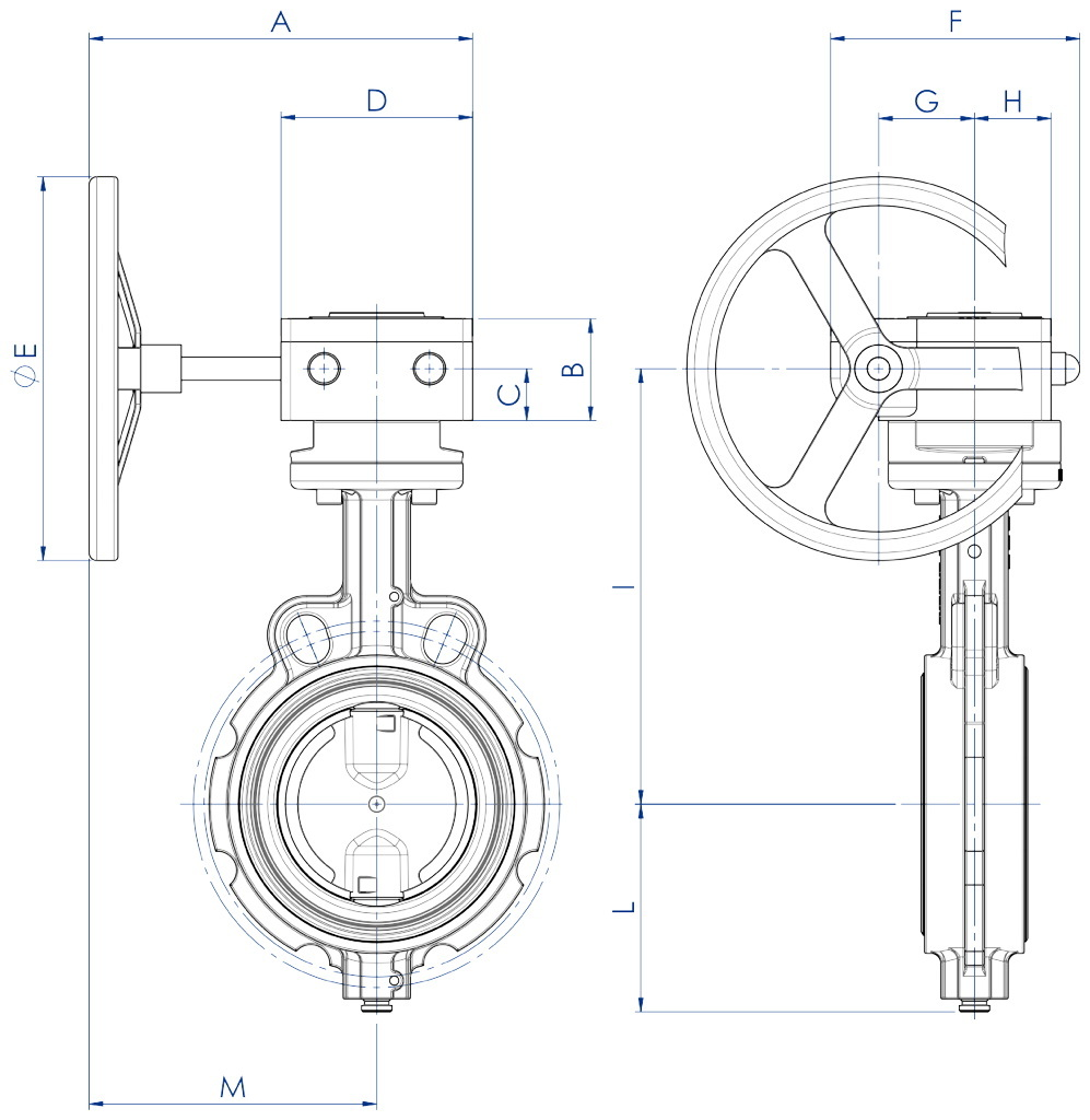 Item 375-376-377 butterfly valve - dimensions - Cast iron body with gear box