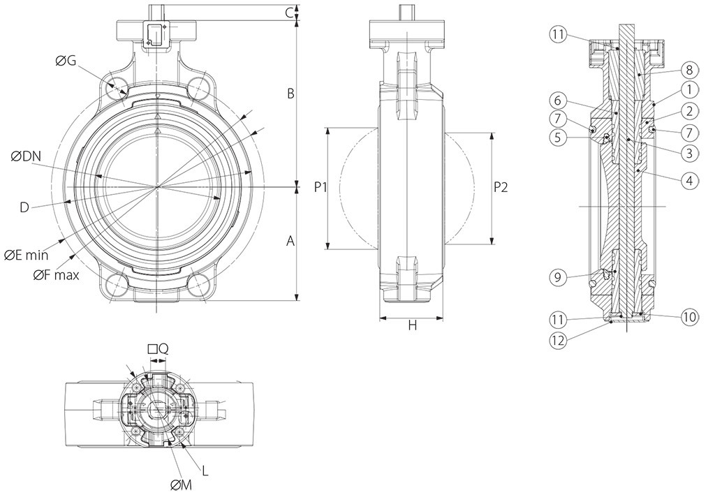 Item 675 butterfly valve - dimensions -