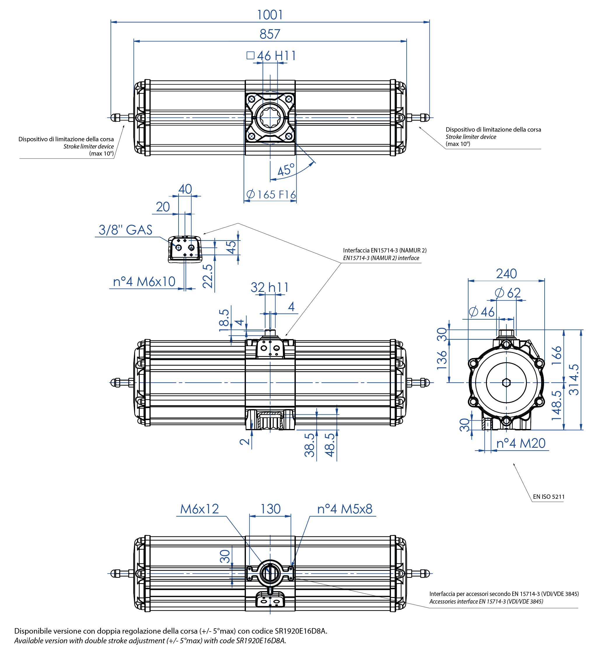 Aluminium spring return pneumatic actuator  SR type - dimensions - Spring return pneumatic actuator size SR 1920 (Nm)