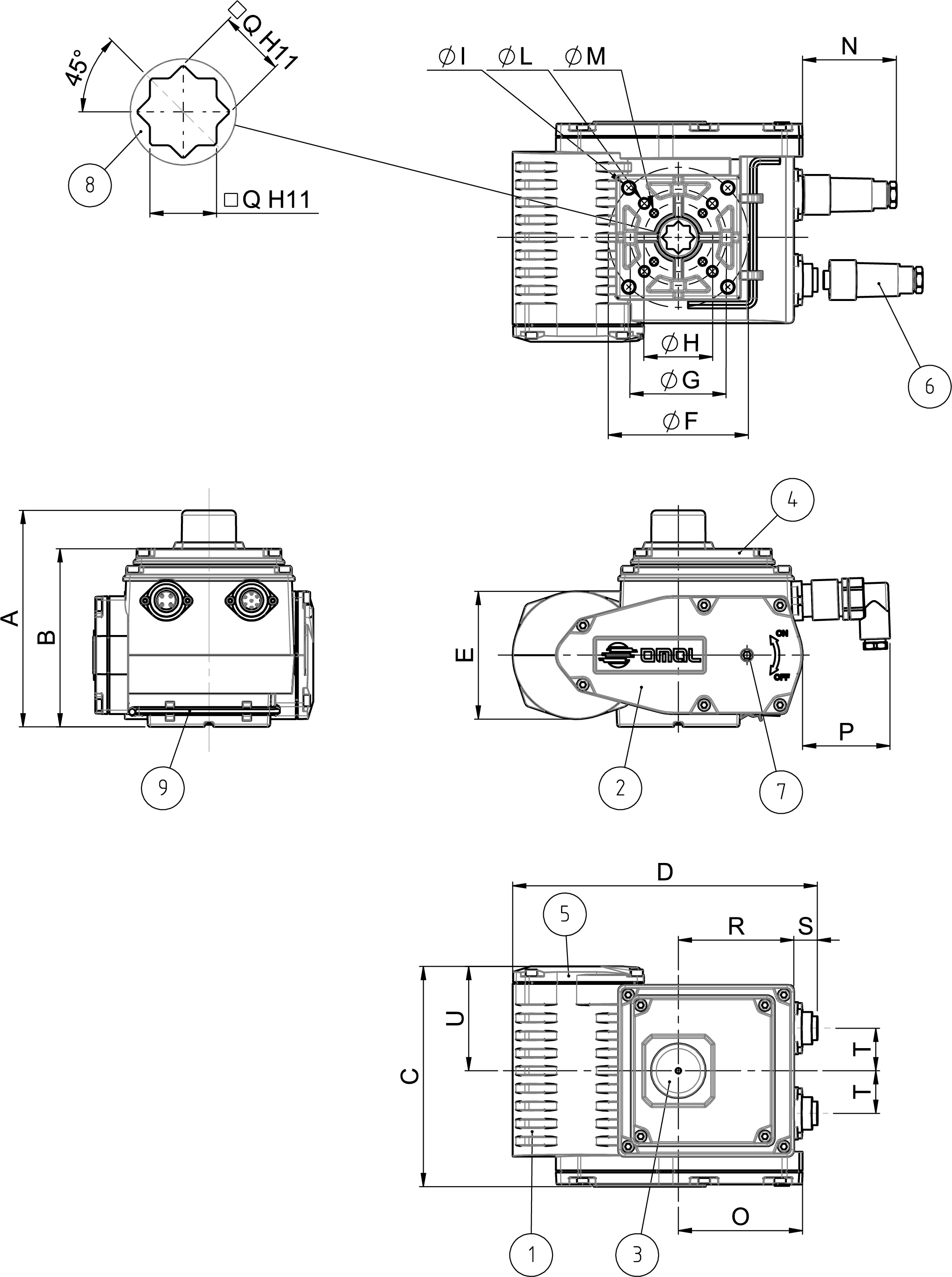 EA ON-OFF rotary type electric actuator - materials -