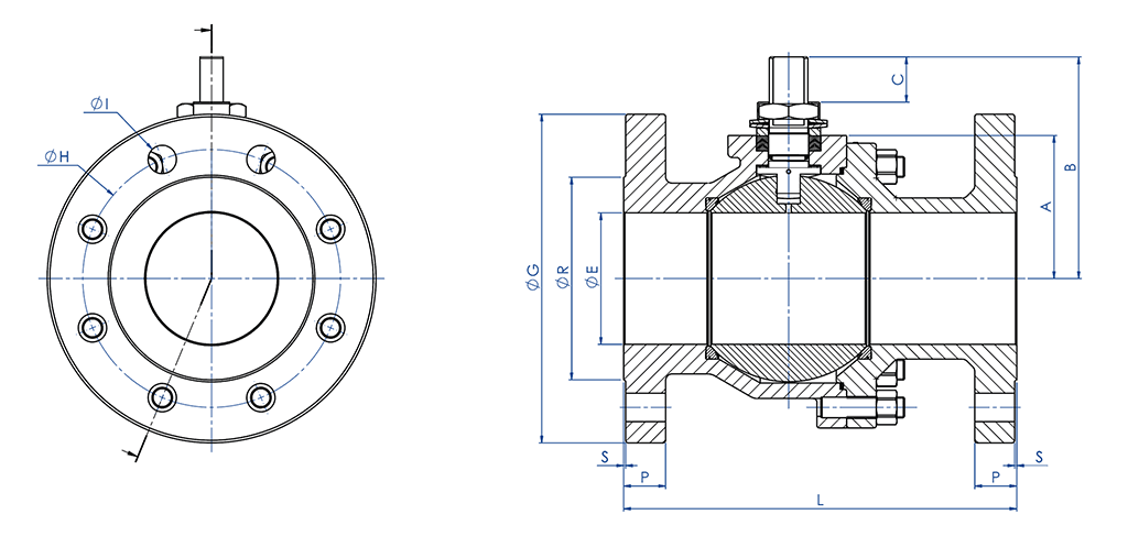 THOR Split Body ANSI 150-300 casting stainless steel ball valve - dimensions - FREE SHAFT DIMENSIONS