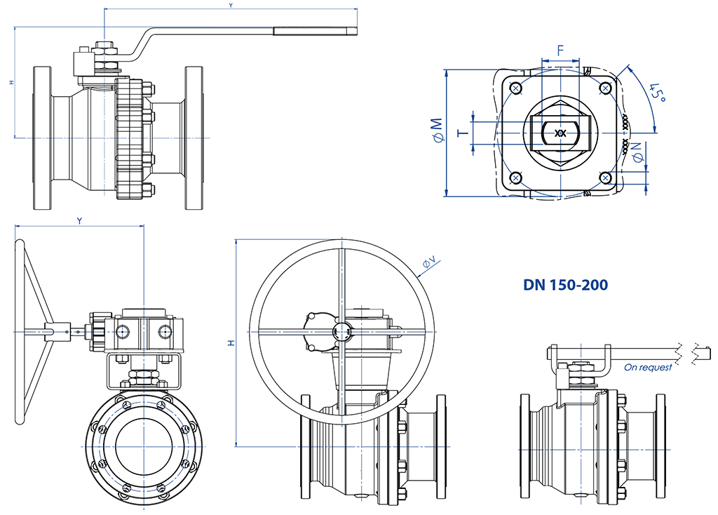 THOR Split Body ANSI 150-300 casting stainless steel ball valve - dimensions - DIMENSIONS WITH LEVER