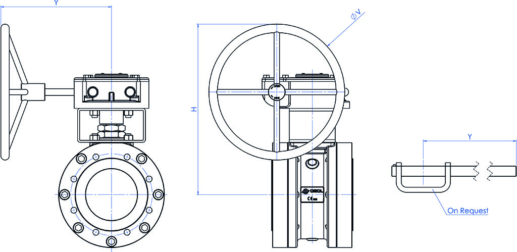 MAGNUM Split Wafer PN 16-40 ANSI 150-300 casting stainless steel ball valve - dimensions - GEARBOX DIMENSIONS