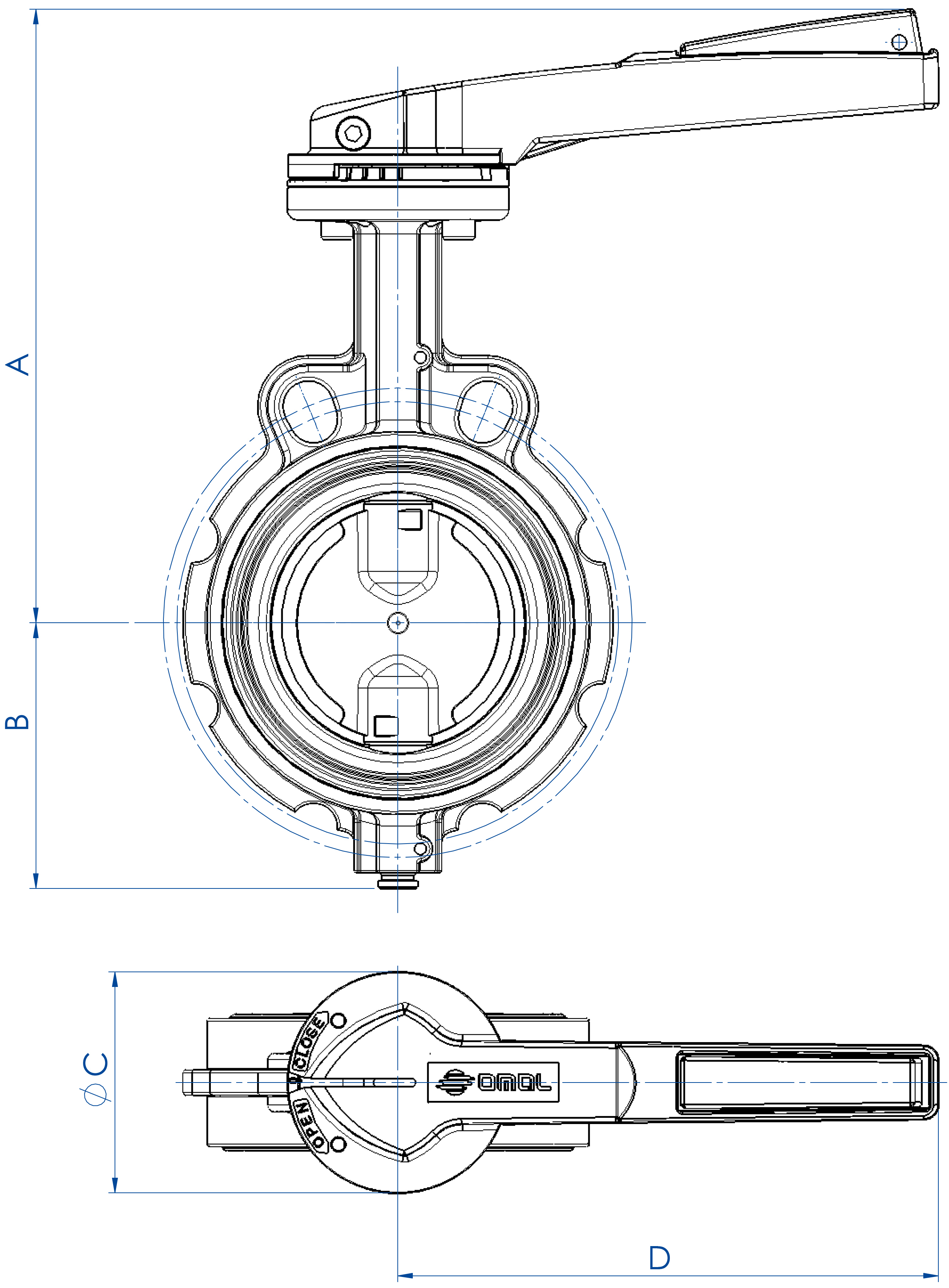 Item 375-376-377 butterfly valve - dimensions - Cast iron body with lever