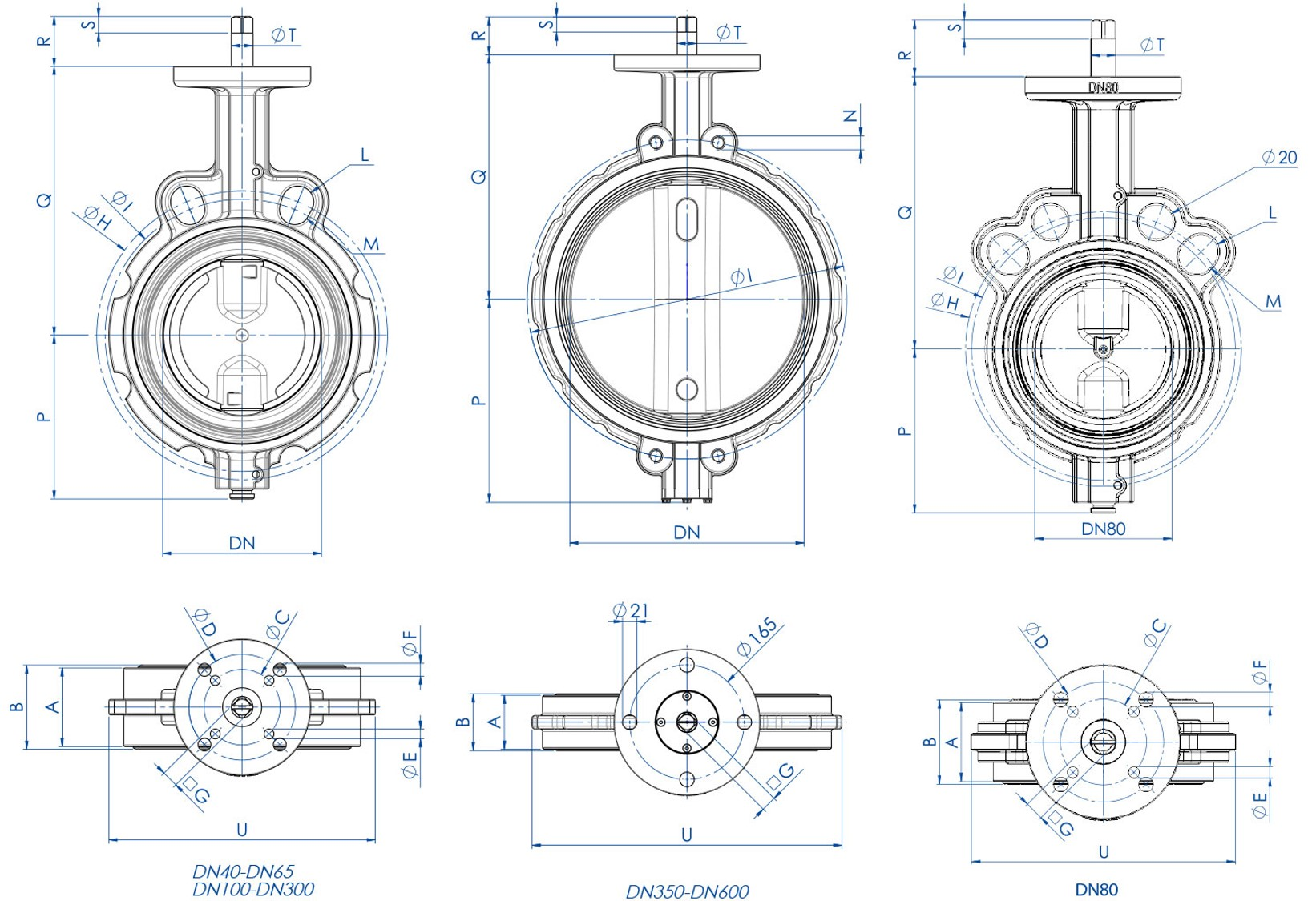 Item 375-376-377 butterfly valve - dimensions -
