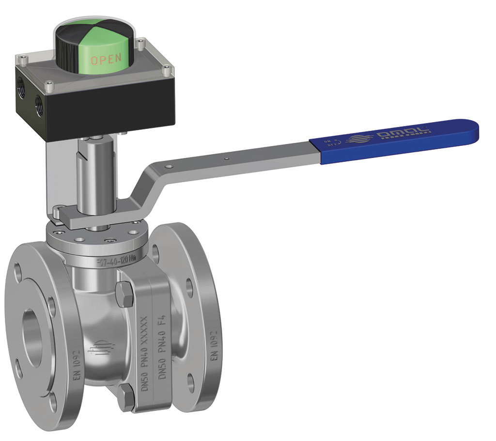 Prochemie 60 Split Body PN 16-40 stainless steel ball valve - special executions - Lever and limit switch box