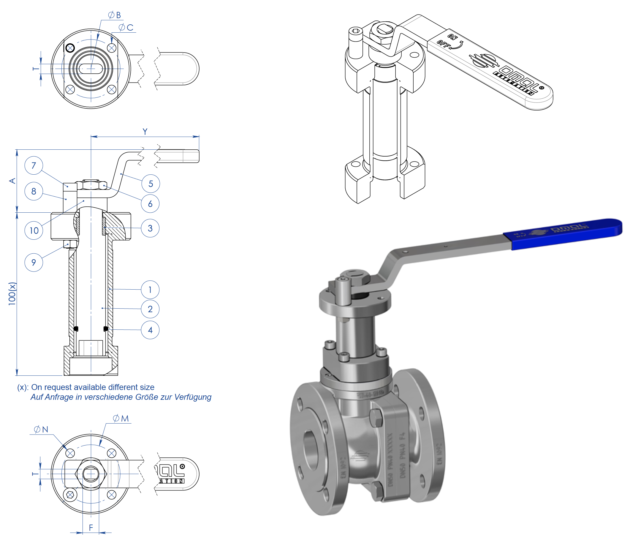 Prochemie 60 Split Body PN 16-40 stainless steel ball valve - accessories - Welded stem extension with lever