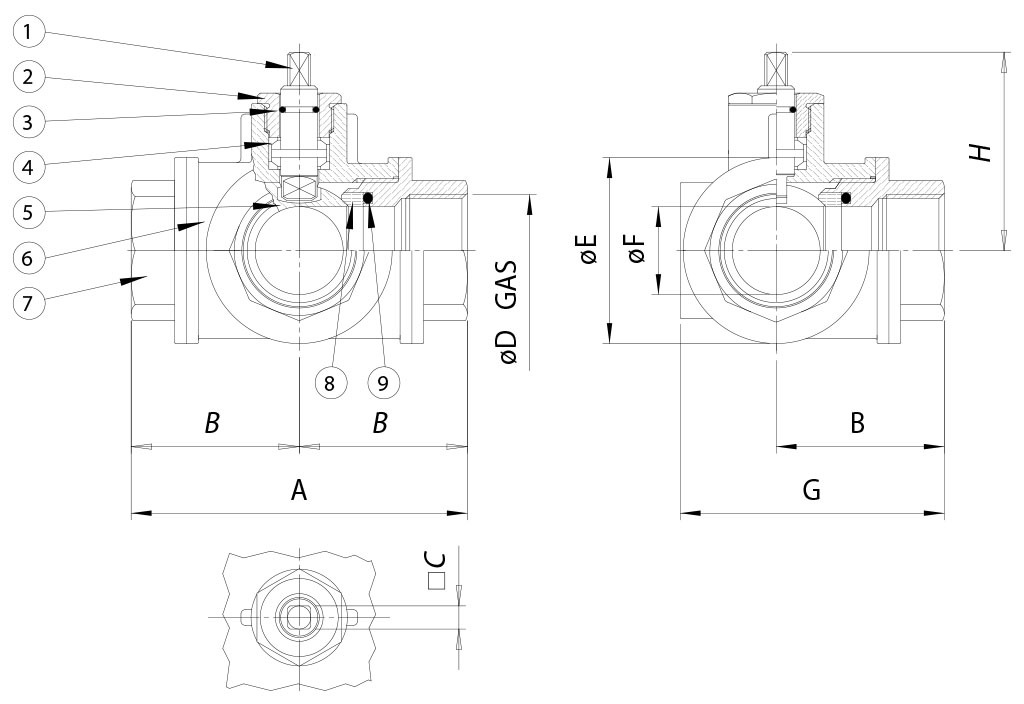 Item 160-161 brass ball valve - dimensions -