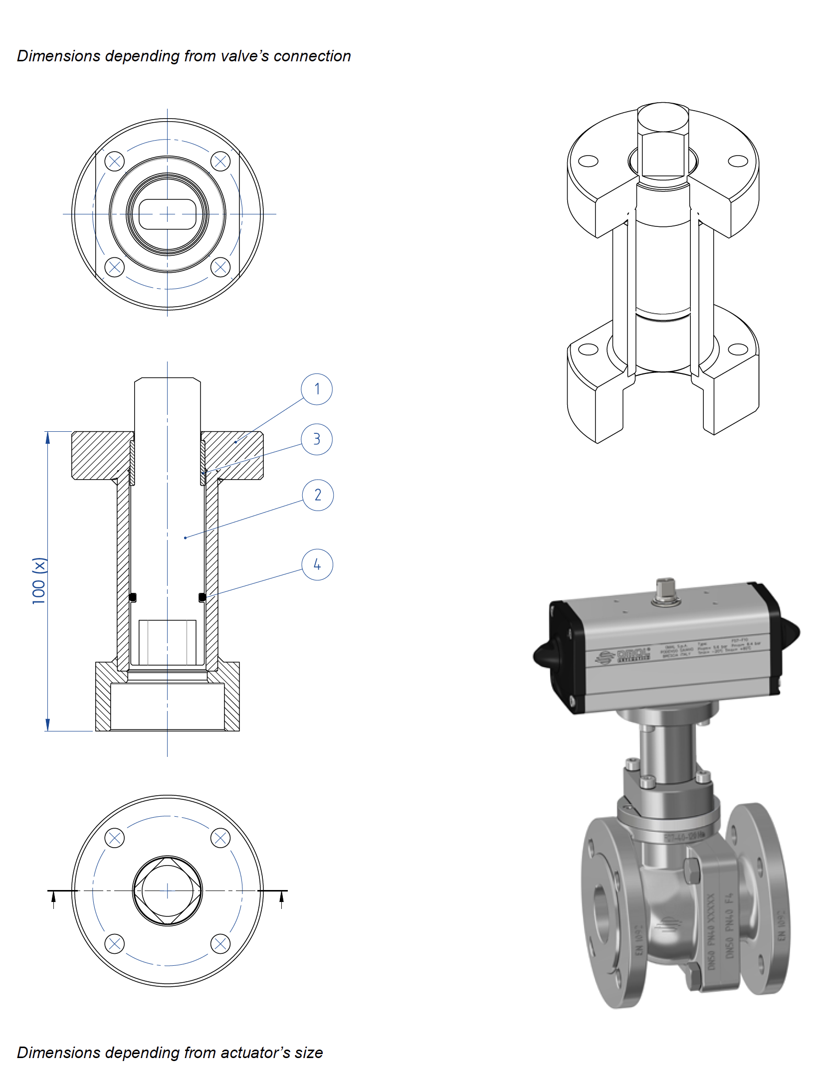 Prochemie 60 Split Body PN 16-40 stainless steel ball valve - accessories - Stem extension for actuators