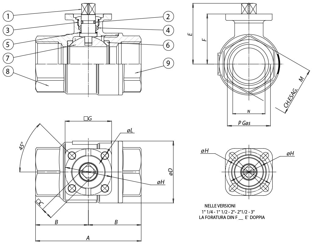 Item 101 brass ball valve - dimensions -
