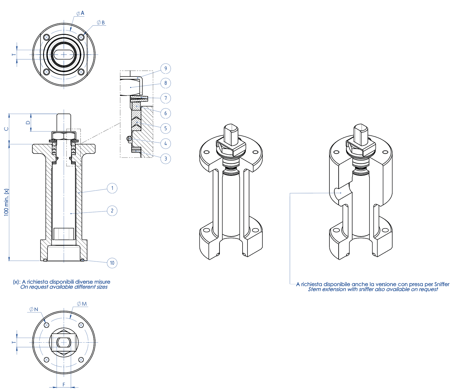 THOR Split Body 3 ways 4 seals PN 16-40 ANSI 150 stainless steel ball valve - accessories - STEM EXTENSION WITH ADDITIONAL SEAL