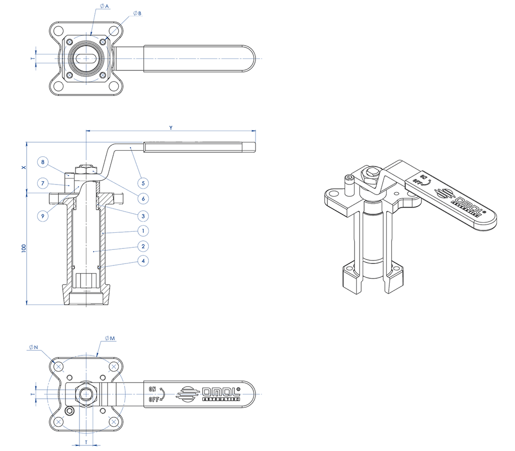 THOR Split Body 3 ways 4 seals PN 16-40 ANSI 150 stainless steel ball valve - accessories - CASTING STEM EXTENSION WITH LEVER