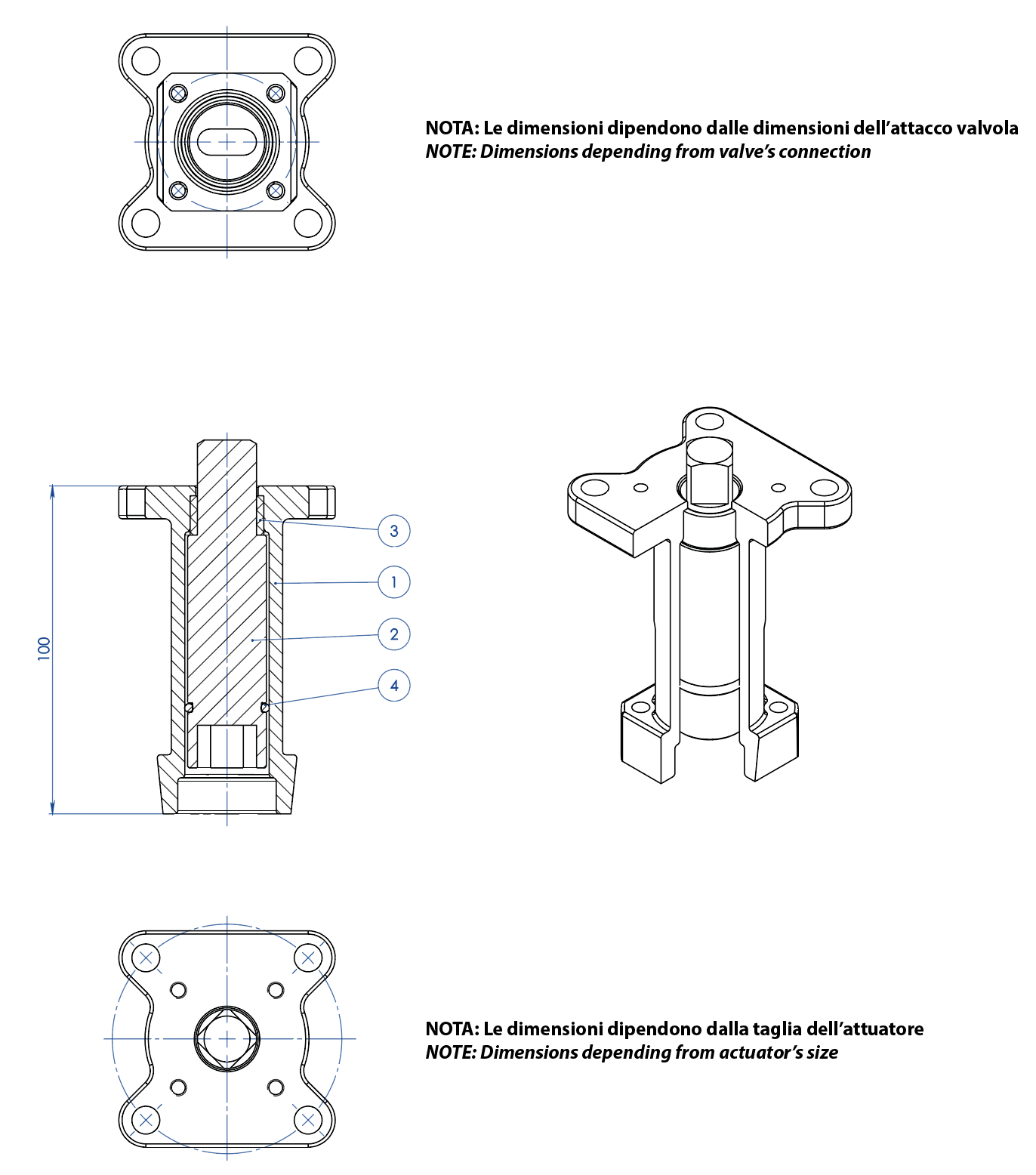 THOR Split Body 3 ways 4 seals PN 16-40 ANSI 150 stainless steel ball valve - accessories - CASTING STEM EXTENSION FOR ACTUATORS