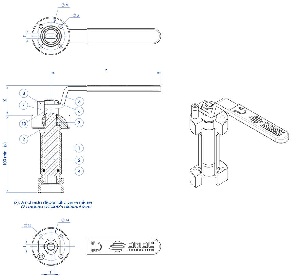 THOR Split Body 3 ways 4 seals PN 16-40 ANSI 150 stainless steel ball valve - accessories - WELDED STEM EXTENSION WITH LEVER