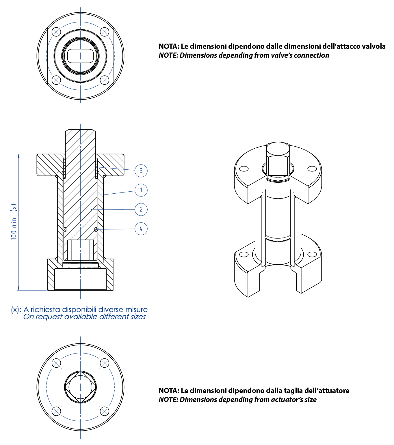 THOR Split Body 3 ways 4 seals PN 16-40 ANSI 150 stainless steel ball valve - accessories - WELDED STEM EXTENSION FOR ACTUATORS
