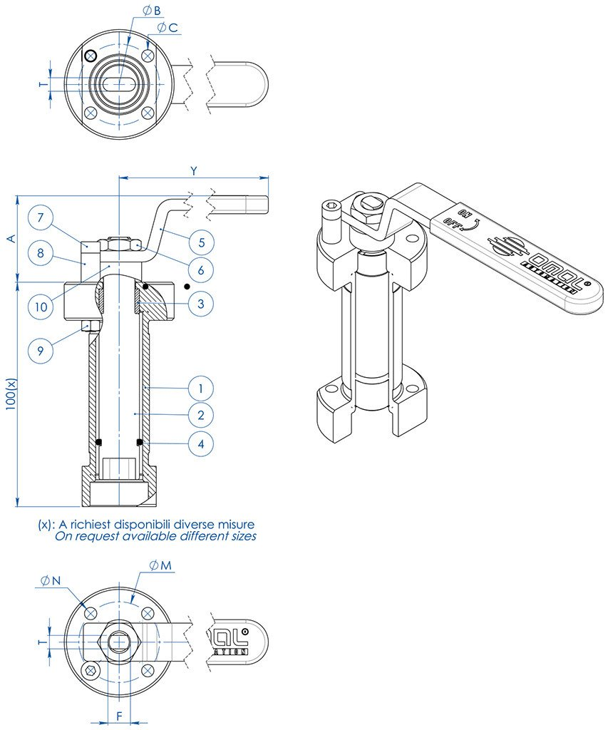 Thor Split Body ANSI 600 reduced bore carbon steel ball valve - accessories - WELDED STEM EXTENSION WITH LEVER