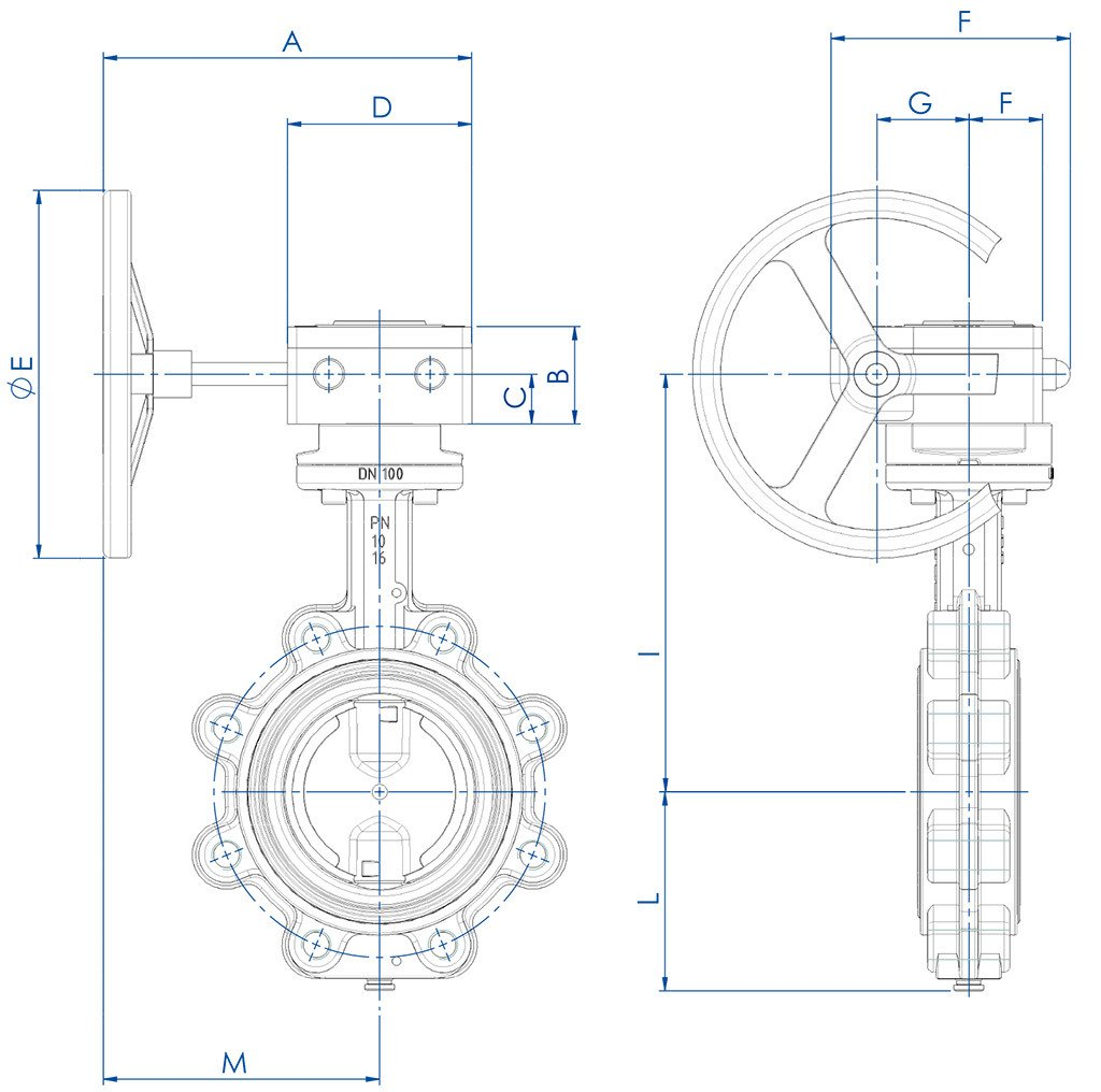 Item 385-386-387 butterfly valve - dimensions -