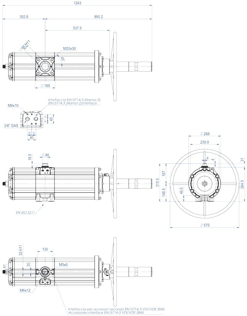 Pneumatic actuator double acting DA with integrated handwheel - dimensions - DANV 3840