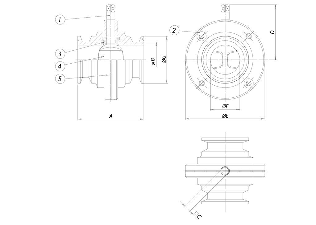 Item 494 butterfly valve - materials - CLAMP BS 4825 (DIN 32676 C serie)
