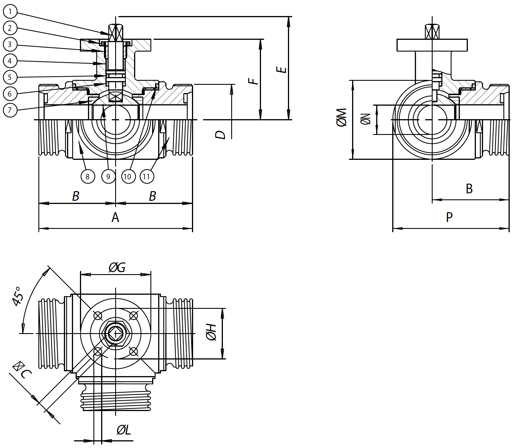 Item 464-465 stainless steel ball valves - dimensions -