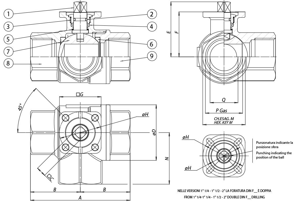 Item 153 brass ball valve - dimensions -