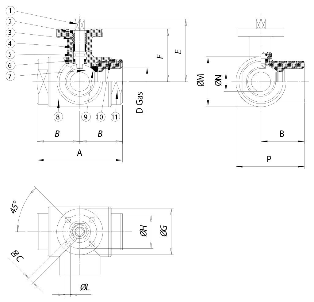 Item 448 stainless steel ball valves - dimensions -