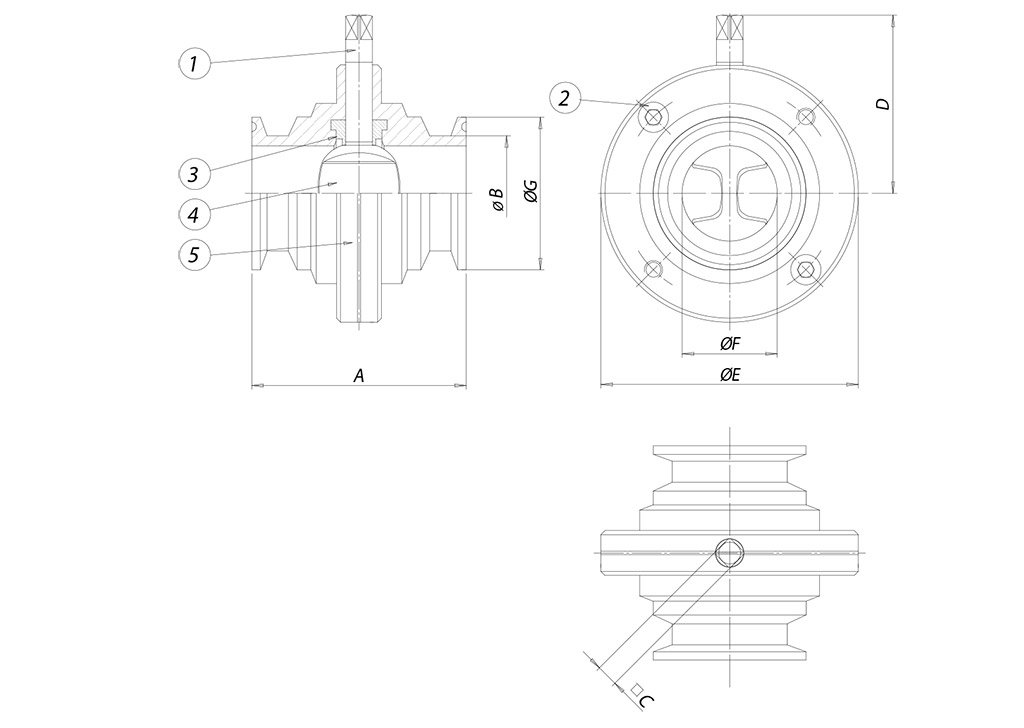 Item 494 butterfly valve - dimensions - ITEM 494 CLAMP BS 4825 (DIN 32676 C serie)