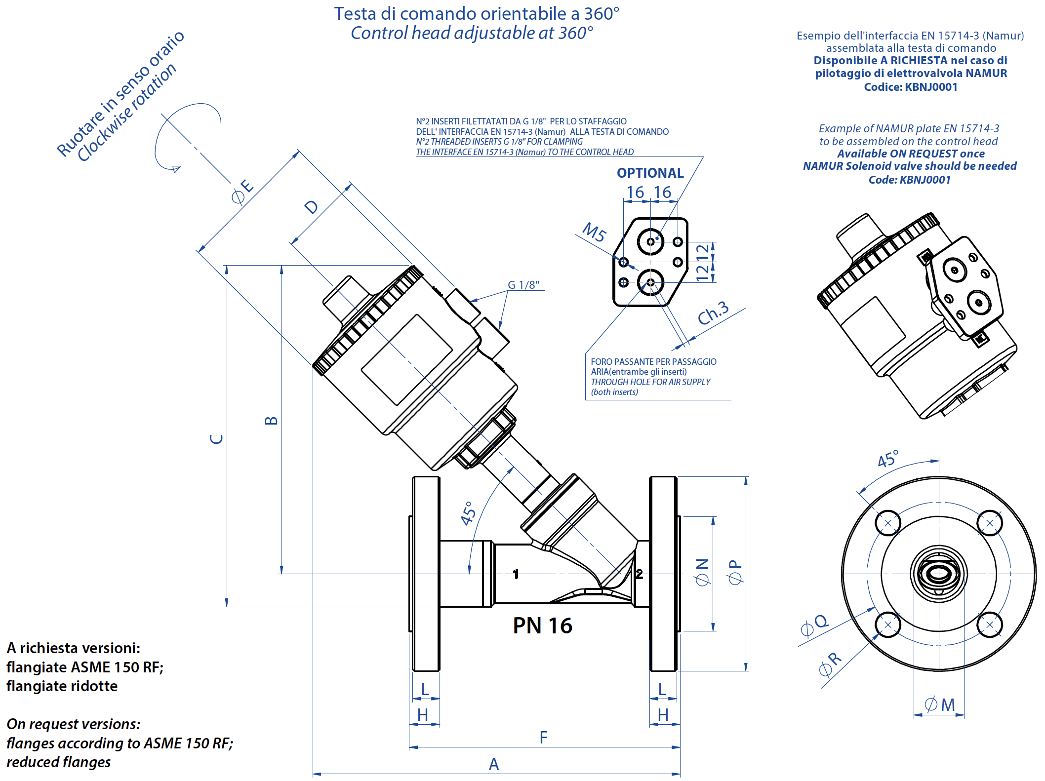 Ares flanged pneumatic valve - dimensions - Flanged UNI EN1092-1