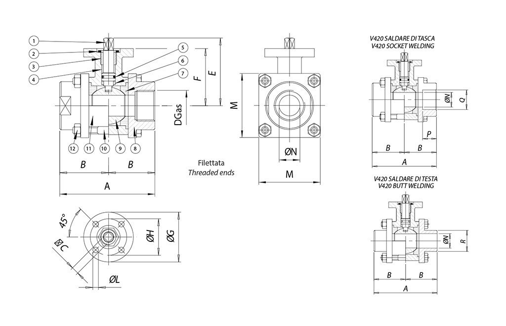 Item 420 stainless steel ball valves - dimensions -