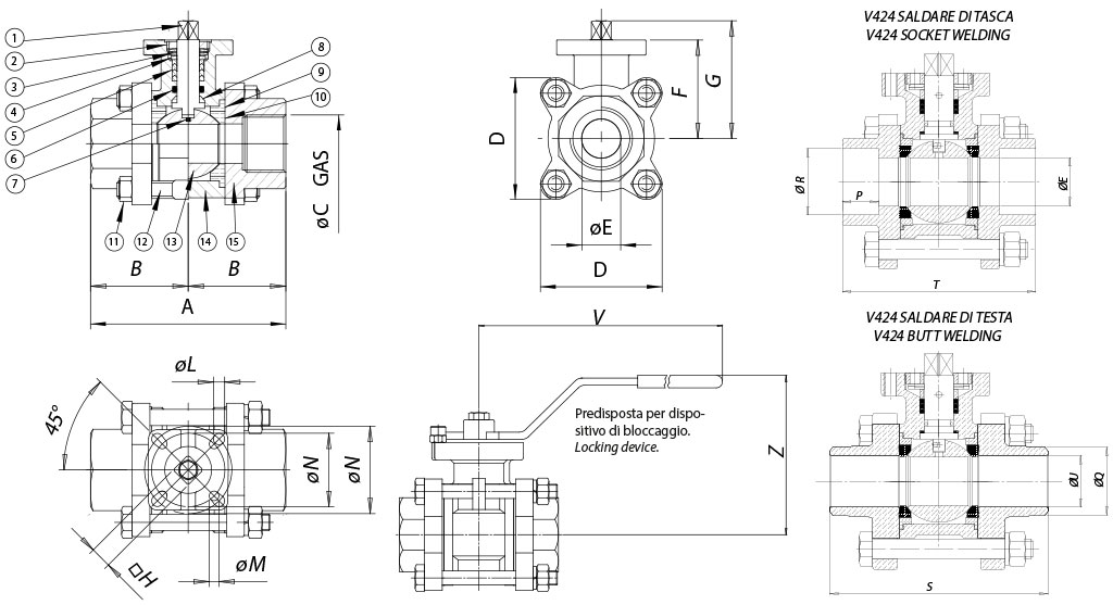 Item 424 stainless steel ball valves - dimensions -