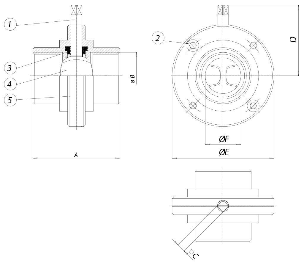 Item 490-492-493 butterfly valve - dimensions - ITEM 490 ISO 228/1